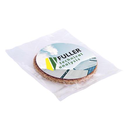 Stroopwafel in transparant zakje met full colour sticker naar eigen ontwerp