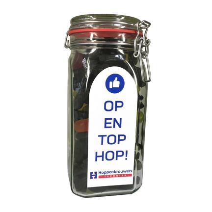 Snoeppot met logo als bedankje voor klanten