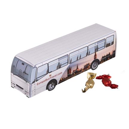 Bedrukte bus met logo als weggevertje