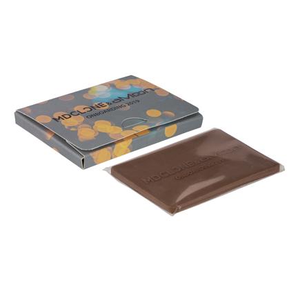 Chocolade visitekaartje met logo