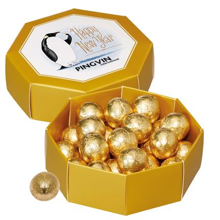 Logo geschenkdoos met chocolade kogels als relatiegeschenk