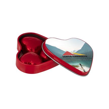 Valentijn hartenblikje met logo als lief promotiemiddel