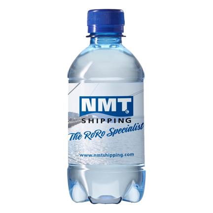 Blauw waterflesje met logo als dorstlessende promotie