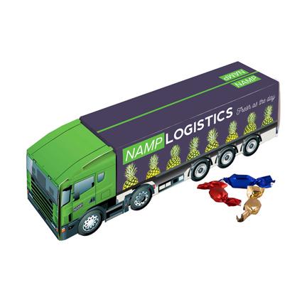 Vrachtwagen met eigen logo gevuld met snoepjes