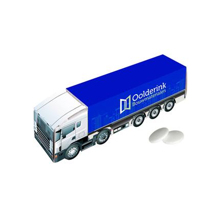Truck met eigen logo gevuld met pepermunt