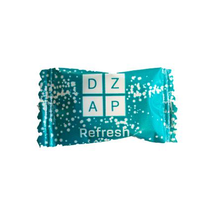 Flowpack pepermunt met logo als fris weggevertje