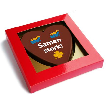 Chocoladehart met logo voor thuiswerkers