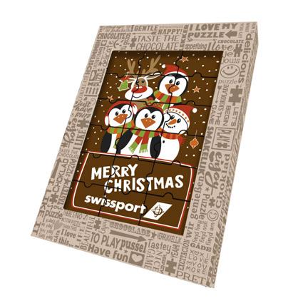 Kerst chocoladepuzzel met logo als Kerstgeschenk