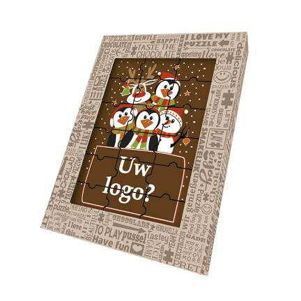 Kerst chocoladepuzzel bedrukt met uw logo als Kerstgeschenk