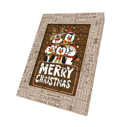 Kerst chocoladepuzzel met een standaard Kerst bedrukking