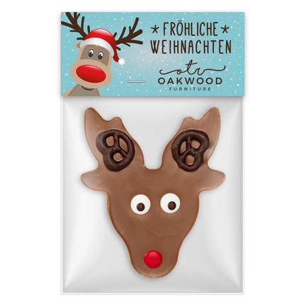 Log snoepzakje met chocolade rendier als eindejaarsgeschenk