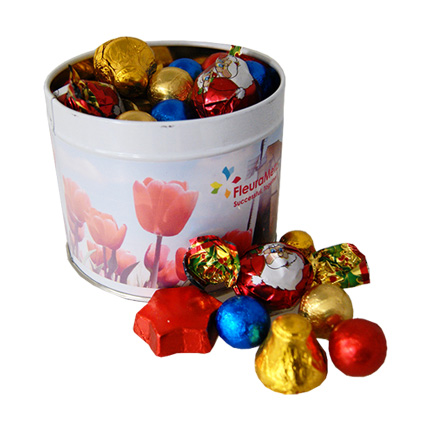 Kerst logoblik met chocolade Kerstvulling