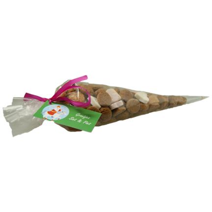 Puntzak kruidnootjes met logokaartje als Sintgeschenk