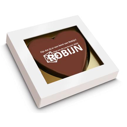 Chocoladehart met logo per brievenbuspost versturen