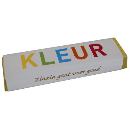 Chocoladereep met logowikkel als relatiegeschenk