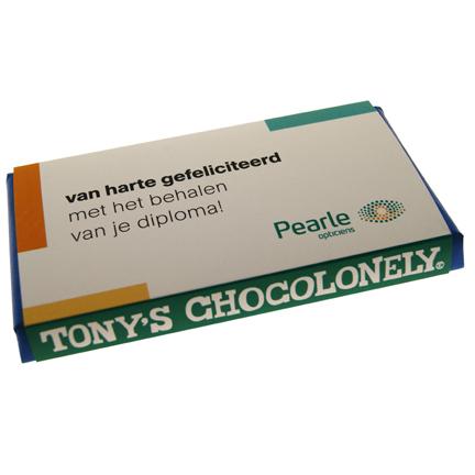 Tony's chocoladetablet met eigen logowikkel
