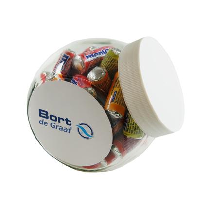 Logo snoeppot met Mentos mini snoeprolletjes