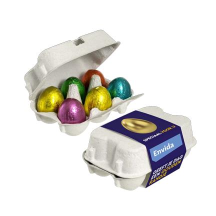 Bedrukt eierdoosje paaseitjes met logo