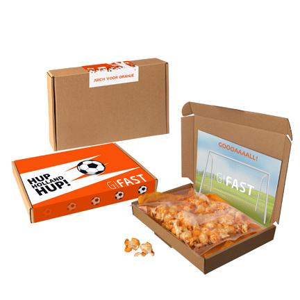 EK doosje met popcorn per brievenbuspost versturen