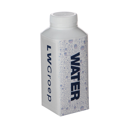 Kartonnen waterflesje met logosticker