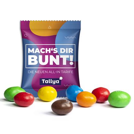 Snoepzakje M&M's pinda bedrukt met uw logo als beurs weggevertje