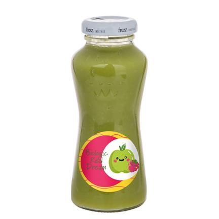 Glazen flesje groene smoothie met logo
