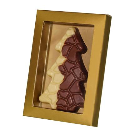 Chocoladekaart Kerstboom reliëf als Kerstgeschenk