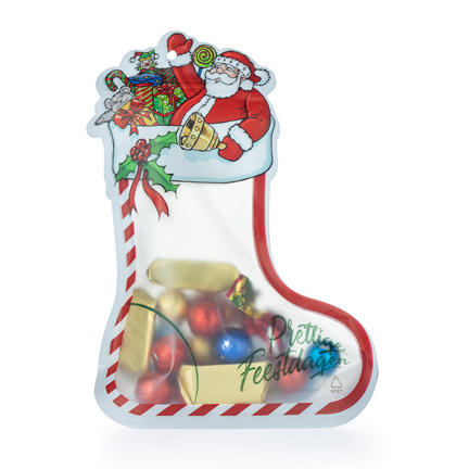 Snoepzak Kerstsok met eigen logokaartje